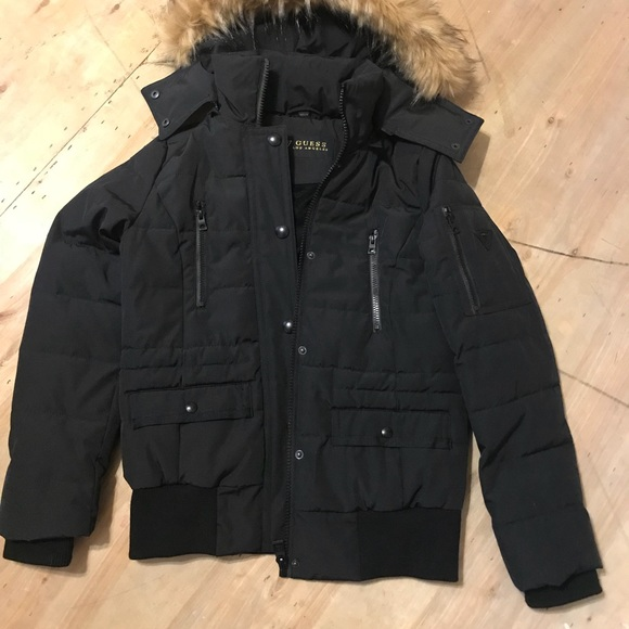 f699ac973 Black Guess puffy bomber jacket